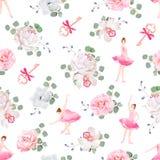 美丽的芭蕾舞女演员跳舞,与弓的钥匙和新鲜的春天花花束无缝的传染媒介样式 库存例证