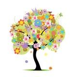 美丽的花卉结构树 免版税库存照片