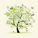美丽的花卉结构树 免版税库存图片