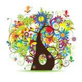 美丽的花卉结构树 免版税图库摄影