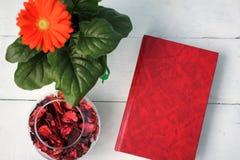 美丽的花和红色书 免版税库存照片