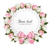 美丽的花圈,做从桃红色和白花 向量例证