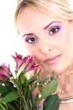 美丽的花妇女年轻人 免版税库存图片