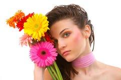 美丽的花妇女年轻人 免版税库存照片
