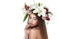 美丽的花妇女花圈 图库摄影