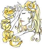 美丽的花妇女 免版税图库摄影