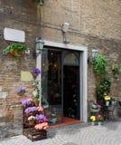 美丽的花店在一个小托斯坎镇 免版税库存图片