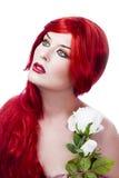 美丽的花新头发的红色 免版税图库摄影