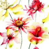 美丽的花无缝的墙纸 免版税库存照片