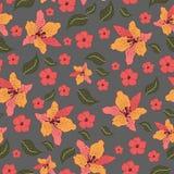 美丽的花无缝的样式传染媒介 免版税库存照片