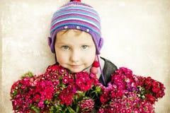 美丽的花束女孩 库存照片