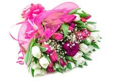 美丽的花束红色和白色郁金香和一个上升了 库存图片