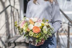 美丽的花花束在妇女` s手上 Floristry概念 背景上色新绿色洗衣店春天空白黄色 卖花人的工作花的 图库摄影