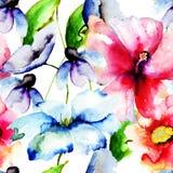 美丽的花,水彩绘画 免版税库存照片