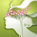 美丽的花头发妇女年轻人 免版税图库摄影