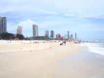 美丽的英属黄金海岸海滩澳大利亚 库存照片