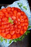 美丽的草莓乳酪蛋糕 图库摄影