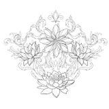 美丽的莲花剪影在一件优美的装饰品的在白色背景 免版税库存照片