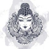 美丽的菩萨面对在高详细的装饰花卉元素 在水彩背景的被刻记的传染媒介例证 皇族释放例证