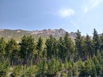 美丽的落矶山,当驾驶到黄石国家公园时 图库摄影