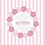 美丽的葡萄酒花卉婚礼邀请卡片,手凹道桃红色开花,传染媒介 图库摄影
