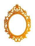 美丽的葡萄酒镀金了在白色背景或镜子隔绝的照片框架 库存图片