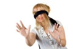 美丽的蒙住眼睛的妇女年轻人 免版税图库摄影