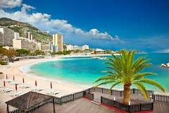 美丽的蒙地卡罗海滩,摩纳哥 库存照片