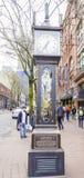 美丽的蒸汽时钟在温哥华-一个著名地标在老镇-温哥华-加拿大- 2017年4月12日 免版税库存照片