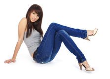 美丽的蓝色女孩牛仔裤 图库摄影