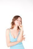 美丽的蓝色女孩衬衣年轻人 库存照片