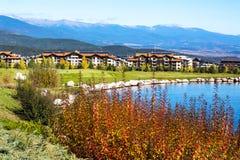 美丽的蓝色湖,树,木房子和 免版税图库摄影