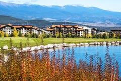 美丽的蓝色湖,树,红色屋顶房子和 免版税库存图片