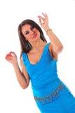 美丽的蓝色礼服妇女 免版税图库摄影
