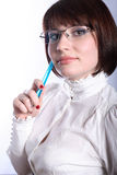美丽的蓝色笔教师 库存照片