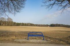 美丽的蓝色长凳在瑞典斯堪的那维亚 库存图片