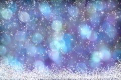 美丽的蓝色紫色水色背景雪星 库存照片