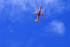 美丽的蓝色Sky_Aircraft_Holidays_Travel 免版税库存照片