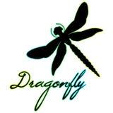 美丽的蜻蜓剪影与标志的 查出在白色 库存照片