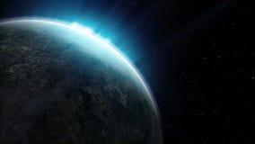 美丽的行星在能夜空的背景转动使成环 股票录像