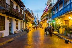美丽的街道在卡塔赫钠,哥伦比亚 库存图片