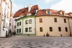 美丽的街道在圣诞节假日在市捷克克鲁姆洛夫在捷克 一最美丽 库存图片