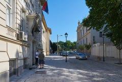美丽的街道在老贝尔格莱德 免版税库存图片