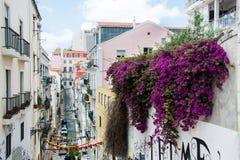 美丽的街道在里斯本,葡萄牙 免版税图库摄影