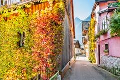美丽的街道在Hallstatt村庄,奥地利 免版税图库摄影