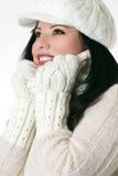 美丽的衣裳冬天妇女 免版税库存图片