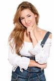 美丽的表达式女孩查出的认为的年轻&# 免版税库存照片