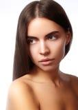 美丽的表面妇女年轻人 Skincare,健康,温泉 清洗软的皮肤,健康新神色 自然每日构成 免版税图库摄影