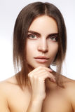美丽的表面妇女年轻人 Skincare,健康,温泉 清洗软的皮肤,健康新神色 自然每日构成 免版税库存图片