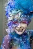 美丽的被绘的面孔在人体艺术竞争,昆士兰,澳大利亚中 免版税库存图片